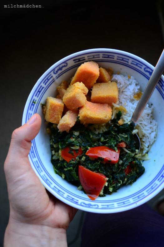Ratzfatz-Spinat-Curry mit Linsentofu